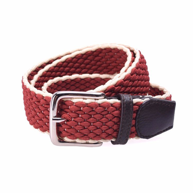 Yusen- Men Cross weave Elastic  Belt  with Custom Logo - Pin Buckle
