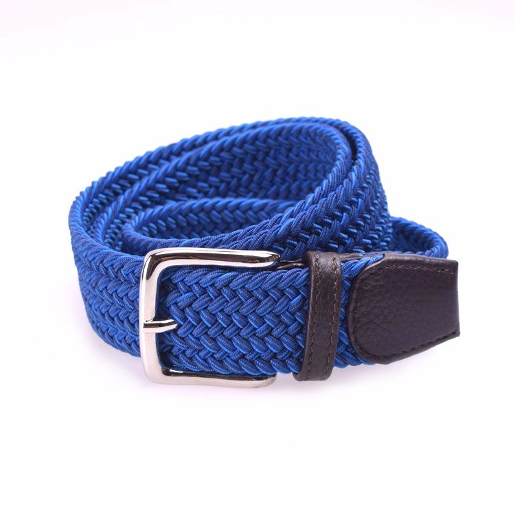 Yusen-Men Woven Elastic  Belt with Leather Tab - Pin Buckle