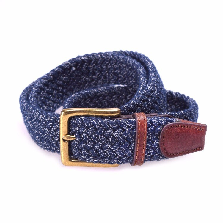 Yuzen-Woven Elastic Belt with Leather Tab - Pin Buckle