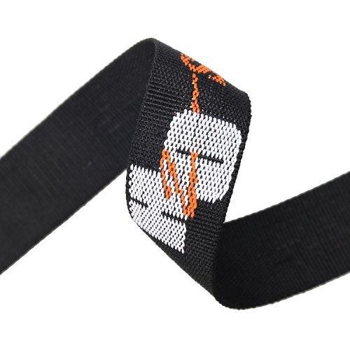 Yusen-Jacquard Webbing-PP-Black Webbing With White Logo
