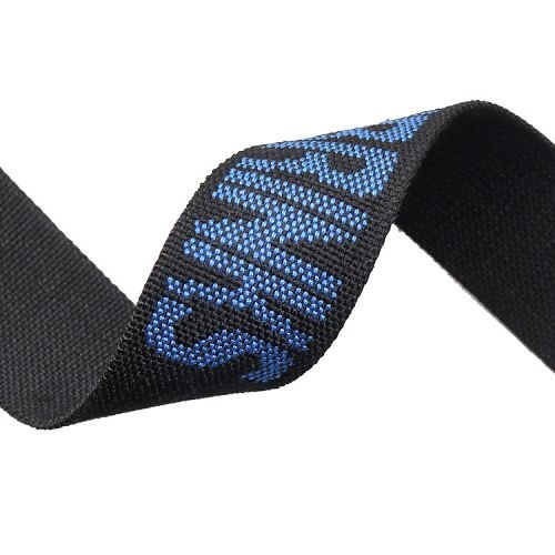 Yusen-Jacquard Webbing-Polyester-Black Webbing With Blue Logo