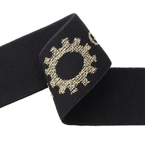 Yusen-Black/gold Jacquard Elastic Band