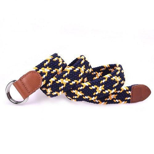 Yusen -Men Elastic Belts with Leather Tab- Double D Buckle