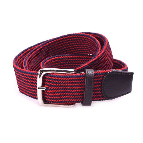 Yusen-Stripe Woven Elastic Belt with Leather Tab - Pin Buckle