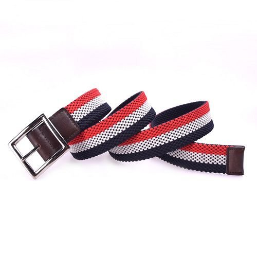 Yusen -Men Elastic Belts with Leather Tab - Pin Buckle