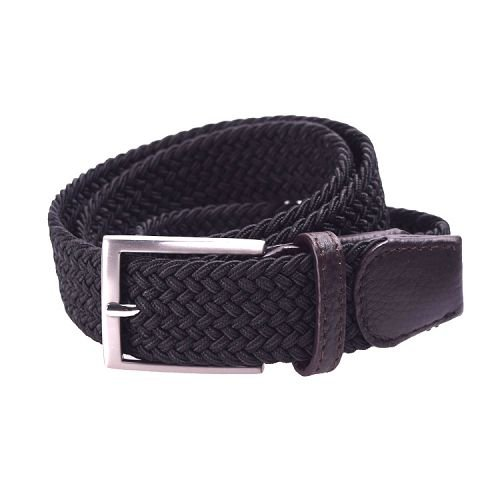 Yusen-Woven Elastic  Belt with Leather Tab