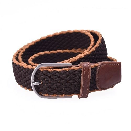 Yusen- Men Cross weave Elastic  Belt  with Custom Logo - Pin Buckle