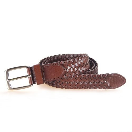 Yusen-Woven Leather Belts-Brown Color