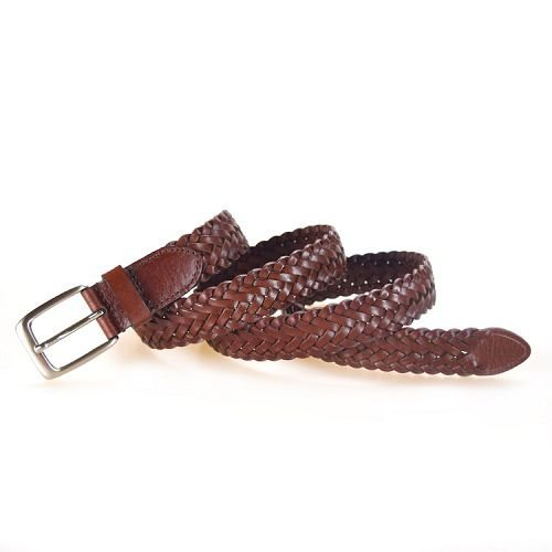 Yusen-Woven Leather Belts-Brown Color