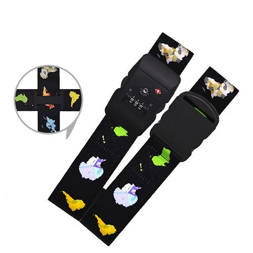 Yusen - Luggage Strap - Polyester - Heat Transfer Printing-Customs password lock-Cross the box