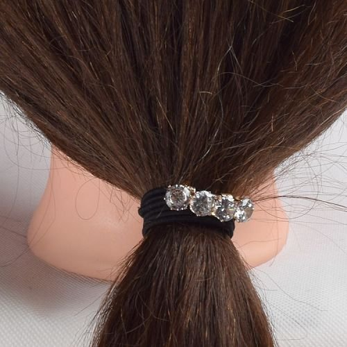 Yusen - Velvet Elastic Hair Band With Crystal