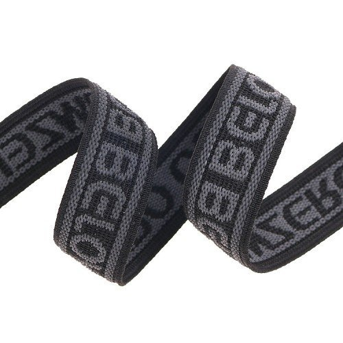 Yusen- Black letter Jacquard Rough Polyester Elastic Band