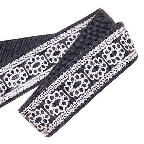 Yusen-Polyester White Silk Printed Elastic Band