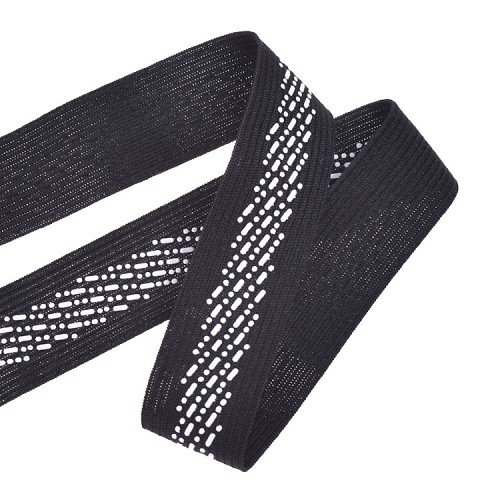 Yusen-Black Polyester Elastic Band Silk Screen Dot Pattern