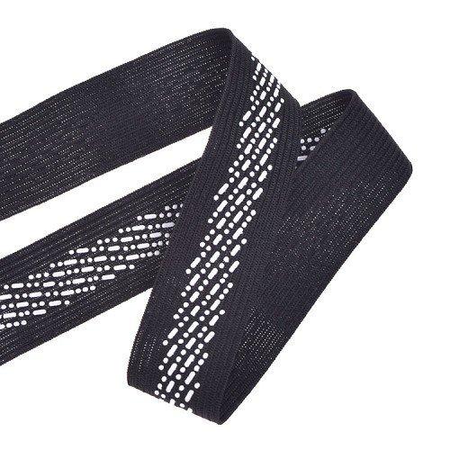 Yusen-Black Polyester Elastic Band Silk Screen Dot Pattern