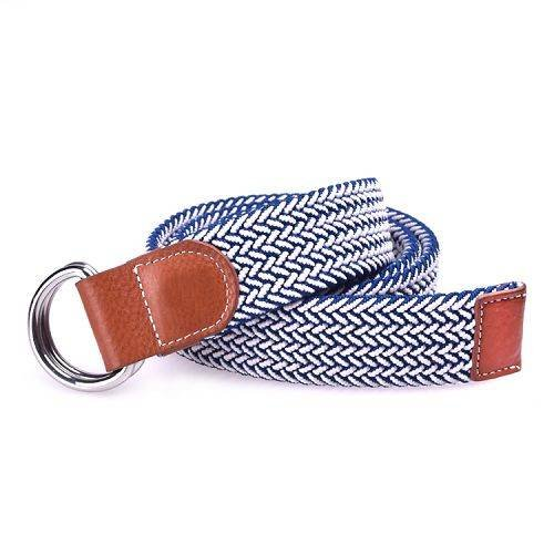 Yusen-Woven Elastic  Belt with Leather Tab - Double D Buckle