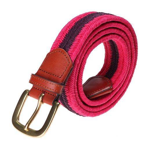 Yusen-Woven That cotton rope Elastic Belt with Leather Tab - Pin Buckle