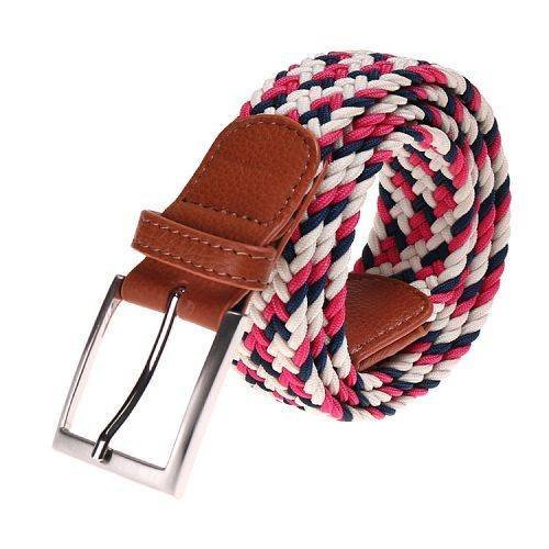 Yusen-Woven Elastic Belt with Leather Tab - Pin Buckle