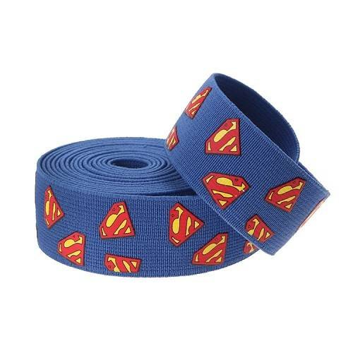 Yusen-Blue Polyester Elastic Band Silk Screen Superman Pattern