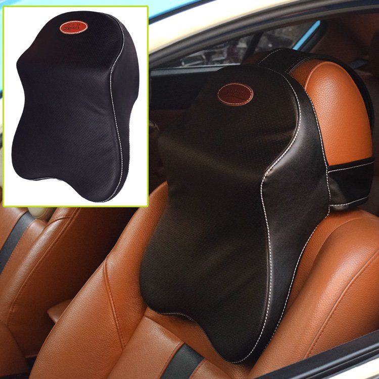 Yusen - Car Neck Pillow - PU Cover + Memory Foam - Black Color